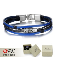 OPK Handmade Multilayer Man Bracelets Fashion New 2015 Blue Leather Braided Vintage Jewelry For Men Anchor Clasp Accessories
