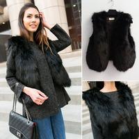 2015 Women Hairy Faux Fox Fur Black Cardigan Vest Short Coat Outerwear New Fashion
