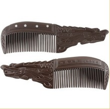 Free shipping handmade Natural ox horn brown tourmaline comb with bio magnets hair style 7 cm*4cm for ladies