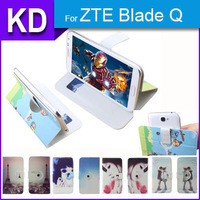 360 Degree Rotate Stand Cool Case PU Leather Universal Cartoon Case + Free Gift For ZTE Blade Q