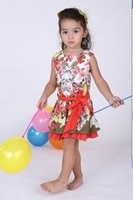 2015 Summer New children floral princess dress girls bow cotton printing vest dress brand kids clothes A5455