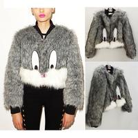 Women Hairy Shaggy Faux Fox Fur O-Neck Short Jackets Cartoon Rabbit Pattern Gray Color Coat Outerwear 2015 New Arrivals
