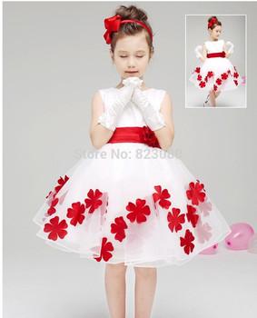 Горячая распродажа бесплатная доставка 1 шт. девушка цветок свадебные платья прекрасный бантом, ну вечеринку платья свободного покроя платье детская одежда