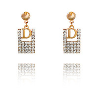 2015 New Design Famous Brand Letters Earrings Goddess Jewelry Pop elements Many Styles girl's/lady's Stud Earrings