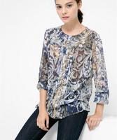 2015 Spring Women Long Sleeve Chiffon Flower Print Chest Fold Blouse Desigual Blusa Tops Femininas Elegant Lady Tropical Blouses