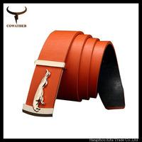 popular  luxury belt golden leopard buckle genuine leather orange belts for men strap  leopard deisgn cowhide leather strap belt