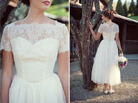 Free Shipping High Quality  Lovely Wedding Dress with Cap Sleeves Custom size/color