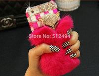 2015 The Newest warm Luxury Bling Crystal Diamonds Fox Rabbit Fur Case For iphone6 4.7inch/6 plus 5.5inch Rhinestone phone case