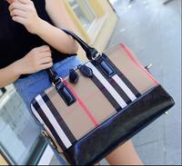 Top Quality Women Handbag Classic Plaid Canvas Bag British Style Striped Big Shoulder Bag Lady Purse Vintage