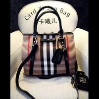 Top Quality Vintage Women Handbag Classic Brand Plaid Canvas Bag British Style Bow Shoulder Bag Lady Purse