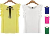 2015 European Style Women Shirt V-neck Slim Sleeveless Solid Chiffon Shirt Spring Autumn Brief Casual Tops Blouse CL2411