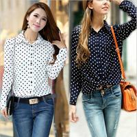 New Hot Fashion Casual Women Blouses Vintage Polka Dot Chiffon Blouses Long Sleeve Lapel Shirts 3 Colors Drop Shipping B-2075