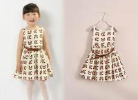 2015 Summer New children vest princess dress girls cotton printing dress kids clothes A5463