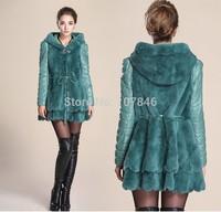 2014 Lady Genuine Rex Rabbit Fur Coat Jacket with Hoodi Leather Sleeve Winter Women Fur Outerwear Coats VK1500