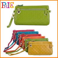 Hot Sale!100% GENUINE LEATHER Fashion Clutch Wallets Key Bag Coin Purses Mobile Phone Bag W/Chain