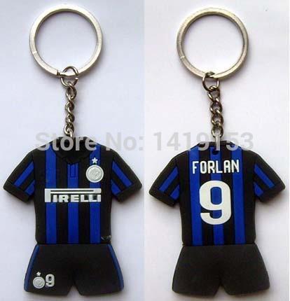 Forlan 9 Inter Milan FC Football Club Soccer Rubber Keychain Key Ring(China (Mainland))
