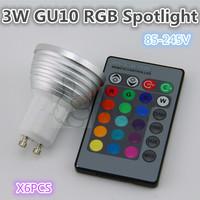 Free shipping. Remote Control 3W RGB spotlights. 85-245V 16-color quality assurance 6pcs / lot