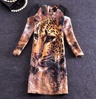 Fashion Women PU Buttons Tiger Printed Dress 3/4 Sleeve Back Hidded Zipper Dress Plus Size M-2XL