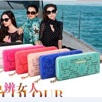 Free Shipping! New Design Fashion Flower Pattern Woman Girls Long Leather Wallet Business Credit ID Card Holder Wallet Handbag