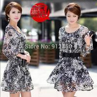 New summer temperament ladies silk chiffon skirt Korean women big yards was thin lace dress + Belt S-XXXL