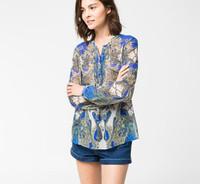 2015 Spring Women Long Sleeve Chiffon Flower Print Fold Transparent Blouse Desigual Blusa Tops Femininas Lady Tropical Blouses