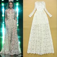 Hot New 2015 Runway Fashion Woman's Fairy White Lace Long Dress Bridal Party Dress F16688