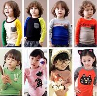 100% cotton 2015 children t-shirt child tops tees kids clothes boys blouse girls long sleeve t shirt