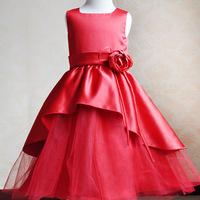2015 new satin crepe flower girl dresses for wedding girls pageant dresses red white colors princess girl knee length dress