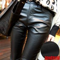 2015 new women's casual Slim PU leather pants plus size thick velvet trousers women Leggings