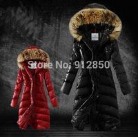 Winter New Top luxury hooded White Down & Coat Women Fahion Slim Medium-Long Plus Size Nature Raccoon Fur Thickening Jacket