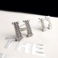 Hot Hip Hop Earring WORD Earring H Earring Crystal Stud Earring For Women Gold & Platinum Plated