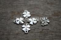 60pcs--Antique Silver Four Leafs Clovers Flowers Charms Pendants 17x11mm