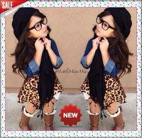 Retail 2015 new arrive fashion girls 3 pcs set denim outerwear +Leopard grain skirt+scarf set children clothing suit for summer