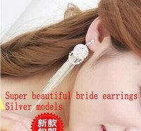 Bridal earrings design female tassel long earrings garishness round earrings no pierced earrings none Women pain earrings