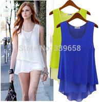 2014 brand new summer women's candy-colored chiffon shirt fake two wild mosaic camisole female skirt