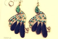 Fashion Retro Alloy Antique Pretty Vintage Jewelry Drilling Peacock drop Earring 260891