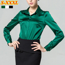 Sping women's mercerizing satin silk shirt solid color Formal long-sleeve blouse female top white green black(China (Mainland))