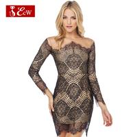 ECW New Fashion 2015 Sexy Net Women DressSplice Slim Lace Dress Hollow Bandage Party Dress