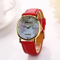Dial map design Geneva watch Women dress watches rose gold fashions quartz watch for female women dress Clock relogios XR706