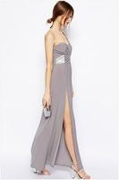 2015 Women Fashion Dress Women's Summer Sexy  Splicing Long Dress Sequined One-Shoulder Evening Dress ZHX