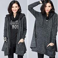 XL-4XL 2015 Spring Autumn Women Wool Coat Asymmetric Zippers Slim Long Hooded Woolen Overcoat Outwear Big size XXXXL