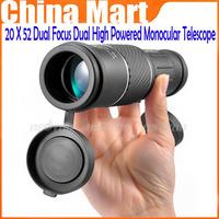 Brand New Saling 20 X 52 Dual Focus Dual Green Film High Powered Monocular Telescope Big Eyepiece for Hunting