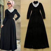 2015 European Celebrity Fashion Women Lace Collar Vintage Velour Long Dress Formal Dress Free Shipping  F16686