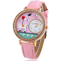 2015 spring fashion Casual style Quartz Silicone Strap Rhinestone crystal Cartoon 19 candy colors Watch Women Dress FreeShipping