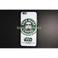 Fashion Starbucks Star Wars Coffee Design Darth Vader Phone Case for iPhone 6 Case for iPhone6 Plus Case Plastic Back Cover Bag