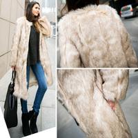 2015 Street Vintage Women Khaki Hairy Faux Rabbit Fur Long Jacket Coat Outerwear Top New Arrivals