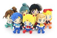 Free shipping 7pcs/lot 20cm cute Sailor Moon plush doll Tsukino Usagi Mars Jupiter Venus Mercury Uranus Pluto soft Toy best gift