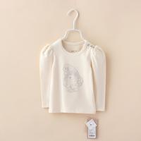 Girls T shirts New Fall Spring Long Sleeve Children Clothing Princess Organic Cotton Cartoon tees Baby Kids Clothing 4pcs/lot