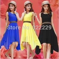S-M-L-XL-XXL 2015 spring and summer new Korean dress irregular large size women summer solid color sleeveless chiffon dress