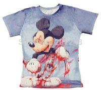 2015 New high quality Women's Men's Short Sleeve T shirt Fashion Bloody Mickey 3D t shirt S M L XL XXL